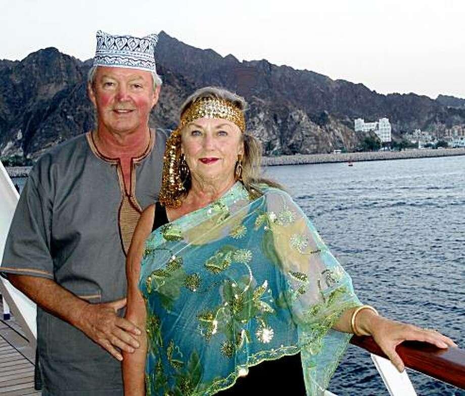 Kevin LaGraff and Susan Atkins of Sausalito, sailing away from Muscat, Oman. JUSTBACK