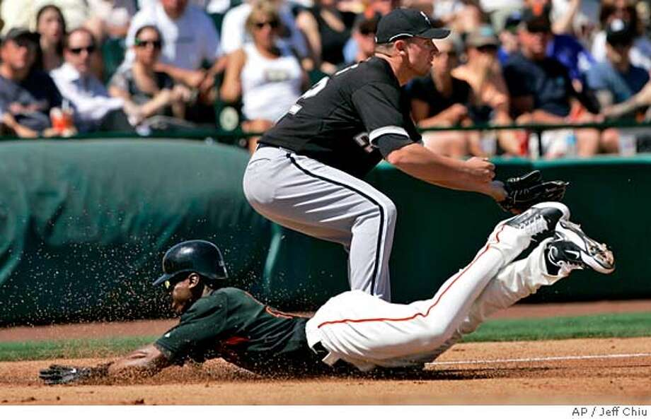 ###Live Caption:San Francisco Giants' Fred Lewis, bottom, slides into third base on his triple in front of Chicago White Sox's Josh Fields in the first inning of a spring baseball game in Scottsdale, Ariz., Friday, March 21, 2008. (AP Photo/Jeff Chiu)###Caption History:San Francisco Giants' Fred Lewis, bottom, slides into third base on his triple in front of Chicago White Sox's Josh Fields in the first inning of a spring baseball game in Scottsdale, Ariz., Friday, March 21, 2008. (AP Photo/Jeff Chiu)###Notes:Fred Lewis, Josh Fields###Special Instructions:EFE OUT Photo: Jeff Chiu
