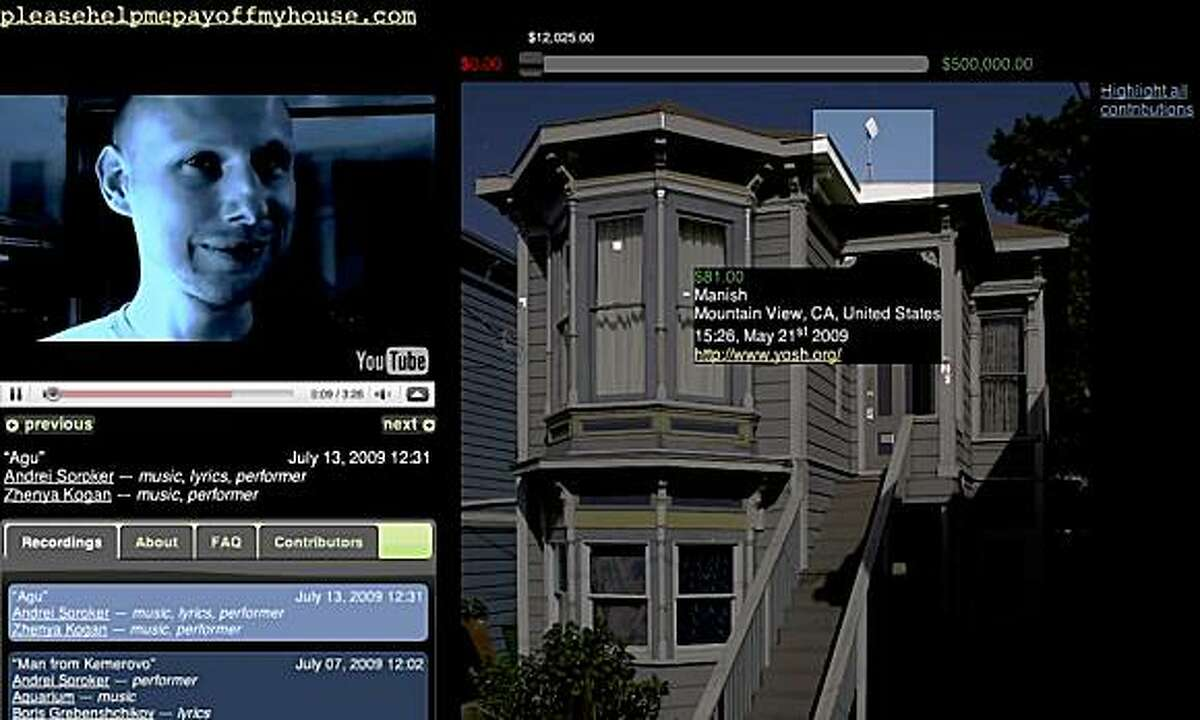 This screen grab from Andrei Soroker's Web site www.pleasehelppayoffmyhouse.com features a video where he performs songs, and a picture of his house highlighting information from donors.