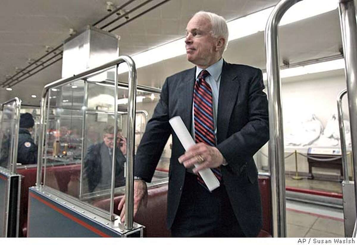 ###Live Caption:Republican presidential candidate Sen. John McCain, R-Ariz., prepares to leave a Senate subway car on his way to a Senate vote, Thursday, March 13, 2008, on Capitol Hill in Washington. (AP Photo/Susan Walsh)###Caption History:Republican presidential candidate Sen. John McCain, R-Ariz., prepares to leave a Senate subway car on his way to a Senate vote, Thursday, March 13, 2008, on Capitol Hill in Washington. (AP Photo/Susan Walsh)###Notes:John McCain###Special Instructions: