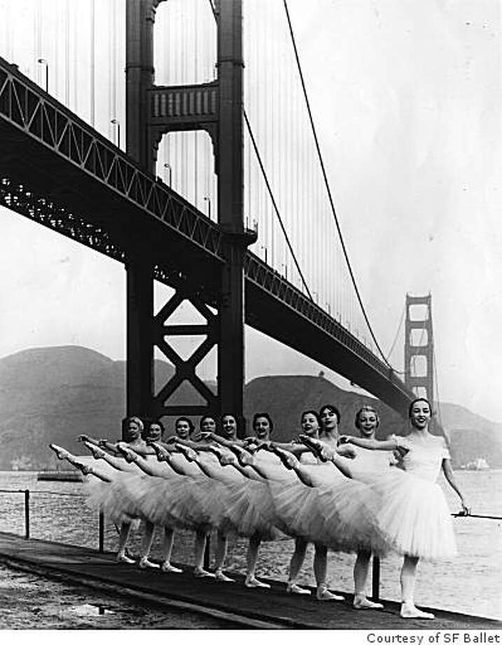 SFB-GGB-1957.jpg Members of San Francisco Ballet pose beneath the Golden Gate Bridge on the eve of the first Far East Tour (1957).(Courtesy of SF Ballet) Please contact me if you have any questions. Erik Almlie | Image ArchivistSan Francisco Ballet at 75455 Franklin Street, San Francisco, California  94102T 415.553.4630 | F 415.861.2684 | www.sfballet.org Photo: Courtesy Of SF Ballet