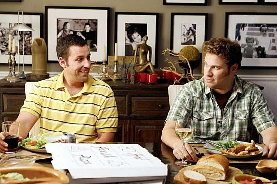 "(L to R) George (ADAM SANDLER) and Ira (SETH ROGEN) share an uncomfortable meal in writer/director Judd Apatow's third film behind the camera, ""Funny People"", the story of a famous comedian who has a near-death experience. Photo: Tracy Bennett, Universal Pictures"