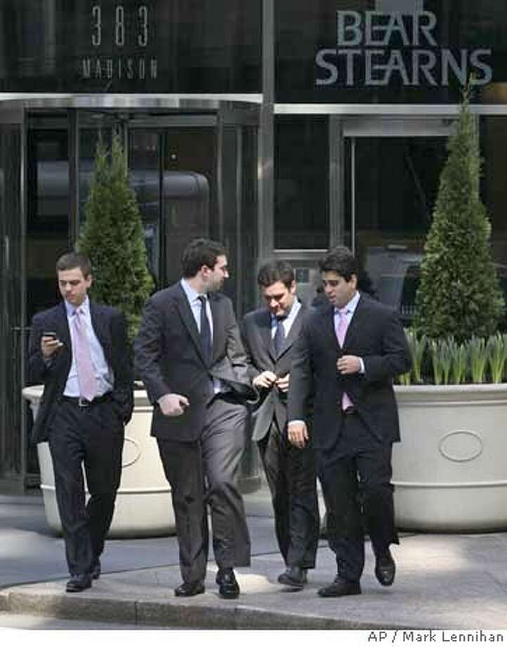 ###Live Caption:People leave Bear Stearns on Monday, March 24, 2008 in New York. Wall Street extended its big advance Monday as investors applauded a new agreement that will give Bear Stearns Cos. shareholders five times the payout than was outlined in a JPMorgan Chase & Co. buyout deal a week ago. (AP Photo/Mark Lennihan)###Caption History:People leave Bear Stearns on Monday, March 24, 2008 in New York. Wall Street extended its big advance Monday as investors applauded a new agreement that will give Bear Stearns Cos. shareholders five times the payout than was outlined in a JPMorgan Chase & Co. buyout deal a week ago. (AP Photo/Mark Lennihan)###Notes:###Special Instructions: Photo: Mark Lennihan