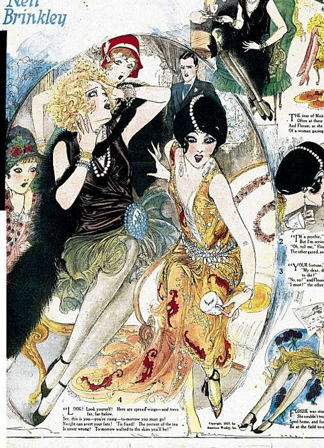 Nell Brinkley's '20s girls are thrown into consternation by the message of the tea leaves in this 1927 episode from American Weekly. Photo: Cartoon Art Museum
