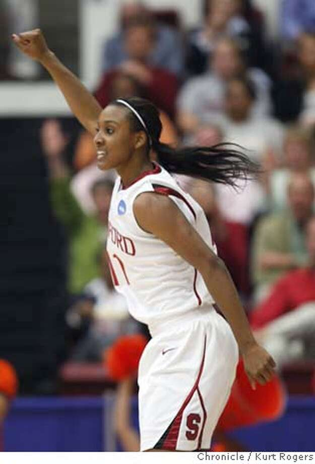 Candice Wiggins after scoring a three pointer in the first period on Monday March 24 2008 in Stanford, Calif  Photo By Kurt Rogers / San Francisco Chronicle Photo: Kurt Rogers