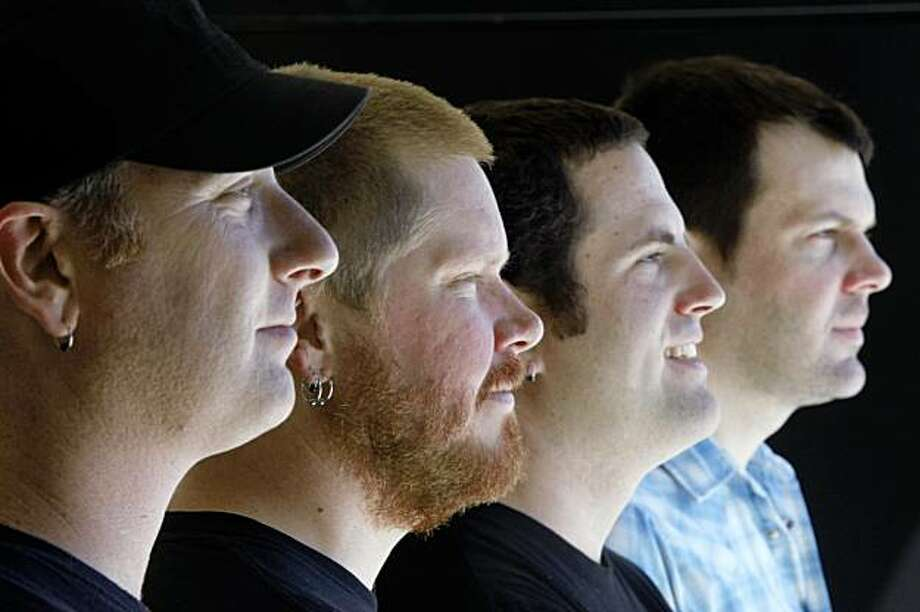 Scott Healy (l to r), Ryan Massey, John Peck and Rory Henderson of American Steel photographed at Sharkbite Studios on Tuesday August 4, 2009 in Oakland, Calif. Photo: Lea Suzuki, The Chronicle