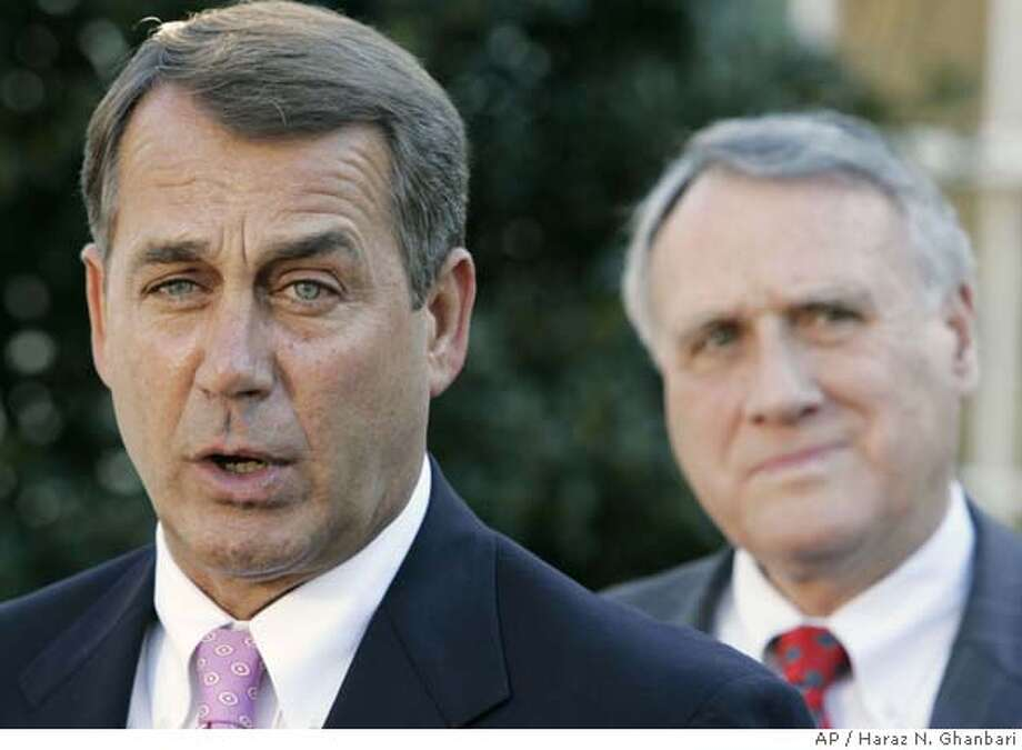 ###Live Caption:House Minority Leader John Boehner of Ohio, left, accompanied by Sen. Jon Kyl, R-Ariz., speaks to members of the press in front of the entrance to the West Wing of the White House in Washington, Wednesday, March 5, 2008. (AP Photo/Haraz N. Ghanbari)###Caption History:House Minority Leader John Boehner of Ohio, left, accompanied by Sen. Jon Kyl, R-Ariz., speaks to members of the press in front of the entrance to the West Wing of the White House in Washington, Wednesday, March 5, 2008. (AP Photo/Haraz N. Ghanbari)###Notes:John Boehner, Jon Kyl###Special Instructions: Photo: Haraz N. Ghanbari