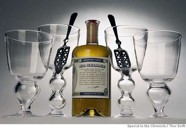 ###Live Caption:Crystal by Simon Pearch, absinthe spoons and a bottle of Absinthe Verte by St. George Distillery photographed Thursday, March 6, 2008 at the San Francisco Chronicle studio.  Thor Swift For The San Francisco Chronicle###Caption History:Crystal by Simon Pearch, absinthe spoons and a bottle of Absinthe Verte by St. George Distillery photographed Thursday, March 6, 2008 at the San Francisco Chronicle studio.  Thor Swift For The San Francisco Chronicle###Notes:###Special Instructions:38694 Photo: Thor Swift