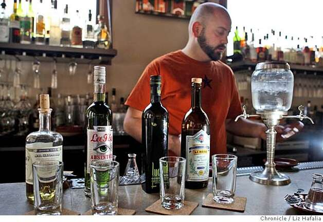 ###Live Caption:Absinthe is now legal in the U.S. and local bartendar from Nopa, Neyah White, lines a few bottles of absinthe for a tasting. Taken on Wednesday, Feb. 27, 2008. Photo by Liz Hafalia/San Francisco Chronicle###Caption History:Absinthe is now legal in the U.S. and local bartendar from Nopa, Neyah White, lines a few bottles of absinthe for a tasting. Taken on Wednesday, 2/27/08. Photo by Liz Hafalia/San Francisco Chronicle###Notes:Absinthe is now legal in the U.S. and local bartendar from Nopa, Neyah White, lines a few bottles of absinthe for a tasting. Taken on Wednesday, 2/27/08. At far right is an absinthe fountain.  Liz Hafalia/The Chronicle/ San Francisco/2/27/08  **Neyah Whi###Special Instructions:�2008, San Francisco Chronicle/ Liz Hafalia  MANDATORY CREDIT FOR PHOTOG AND SAN FRANCISCO CHRONICLE. NO SALES- MAGS OUT. Photo: Liz Hafalia