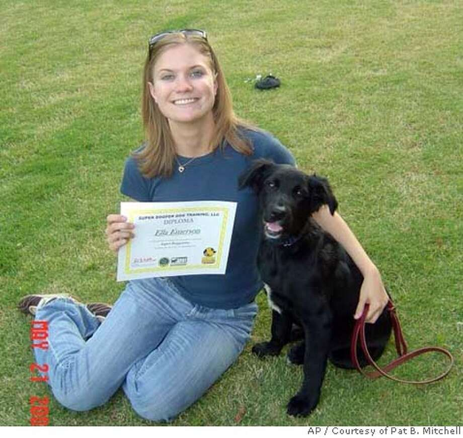 ###Live Caption:** FILE ** In this May 2007 photo released by Pat B. Mitchell, Meredith Emerson is seen with her dog Ella, in Flowery Branch, Ga. Emerson used her wits and martial arts training when she was attacked in the north Georgia mountains by a drifter who eventually killed and decapitated her, the convicted killer told investigators. Gary Michael Hilton described his four days with Emerson, and how she fought him from the moment he tried to overpower her as she hiked with her dog, Ella, according to the interviews that The Atlanta Journal-Constitution obtained from the Georgia Bureau of Investigation. (AP Photo/Courtesy of Pat B. Mitchell) ** NO SALES **###Caption History:** FILE ** In this May 2007 photo released by Pat B. Mitchell, Meredith Emerson is seen with her dog Ella, in Flowery Branch, Ga. Emerson used her wits and martial arts training when she was attacked in the north Georgia mountains by a drifter who eventually killed and decapitated her, the convicted killer told investigators. Gary Michael Hilton described his four days with Emerson, and how she fought him from the moment he tried to overpower her as she hiked with her dog, Ella, according to the interviews that The Atlanta Journal-Constitution obtained from the Georgia Bureau of Investigation. (AP Photo/Courtesy of Pat B. Mitchell) ** NO SALES **###Notes:###Special Instructions:NO SALES, AP PROVIDES ACCESS TO THIS PUBLICLY DISTRIBUTED HANDOUT PHOTO. THE COPYRIGHT IS OWNED BY A THIRD PARTY. AP PROVIDES ACCESS TO THIS PUBLICLY DISTRIBUTED HANDOUT PHOTO TO BE USED ONLY TO ILLUSTRATE NEWS REPORTING OR COMMENTARY ON THE FACTS OR EVEN Photo: Anonymous
