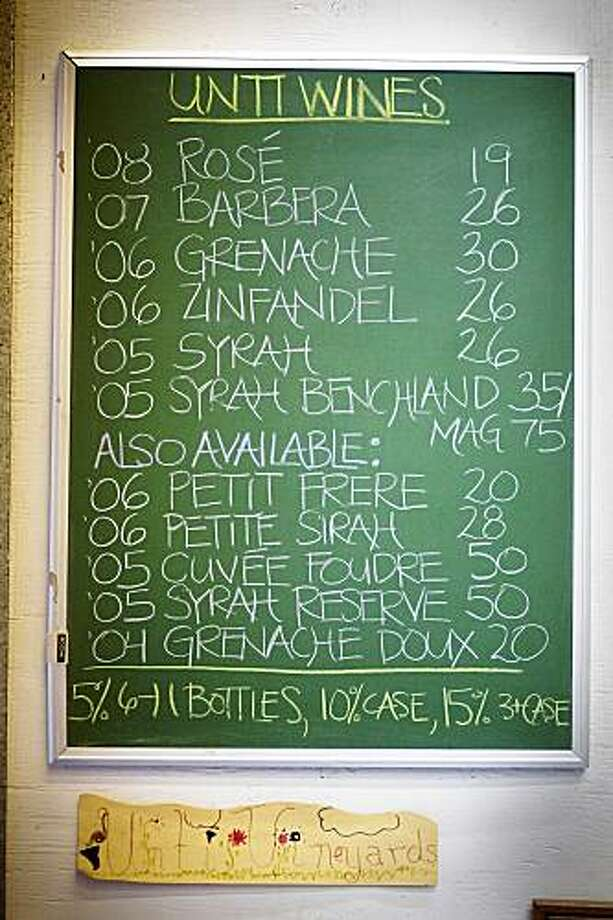 A handwritten list of Unti Vineyards wines available for purchase at the tasting room, in Healdsburg, Ca., on Saturday, June 6, 2009. Photo: Lianne Milton, Special To The Chronicle