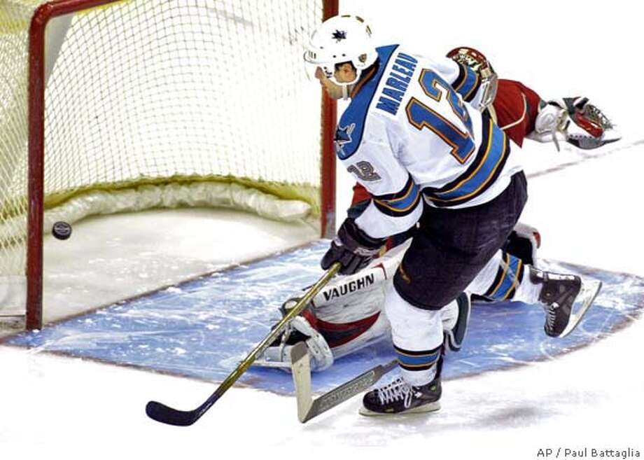 San Jose Sharks center Patrick Marleau (12) scores the winning goal in a shoot-out against Minnesota Wild goalie Niklas Backstrom, of Finland, during a hockey game Sunday, March 9, 2008 in St. Paul, Minn. San Jose won 3-2. (AP Photo/Paul Battaglia) Photo: Paul Battaglia