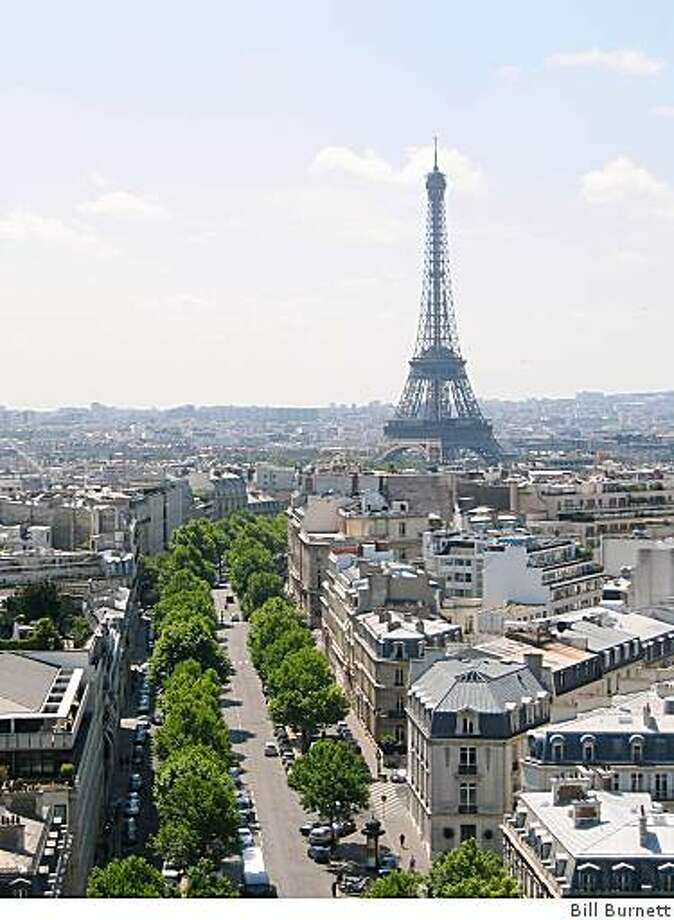 Eiffel Tower photographed from top of Arc de Triomphe, Paris. To go with Real Estate story on fractional ownership in Paris. Photo: Bill Burnett