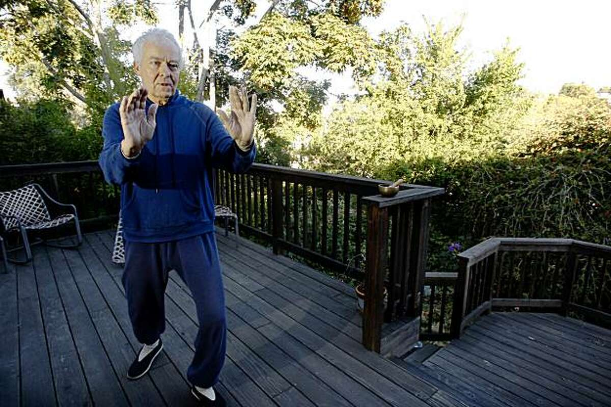 Oakland arborist Friedbert Weimann, 59, does an hour of tai chi chih every morning before work at his home in Oakland, Calif., on Tuesday, July 14, 2009.