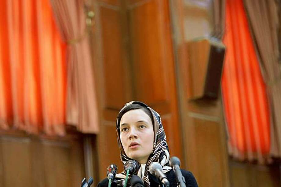 Detained French lecturer Clotilde Reiss defends herself during a hearing at a revolutionary court in Tehran on August 8, 2009. Reiss was in the dock with Iranian protesters being tried in Tehran for opposing President Mahmoud Ahmadinejad's re-election, official media said. AFP PHOTO/FARS NEWS/ALI RAFIEI (Photo credit should read ALI RAFIEI/AFP/Getty Images) Photo: ALI RAFIEI, AFP/Getty Images