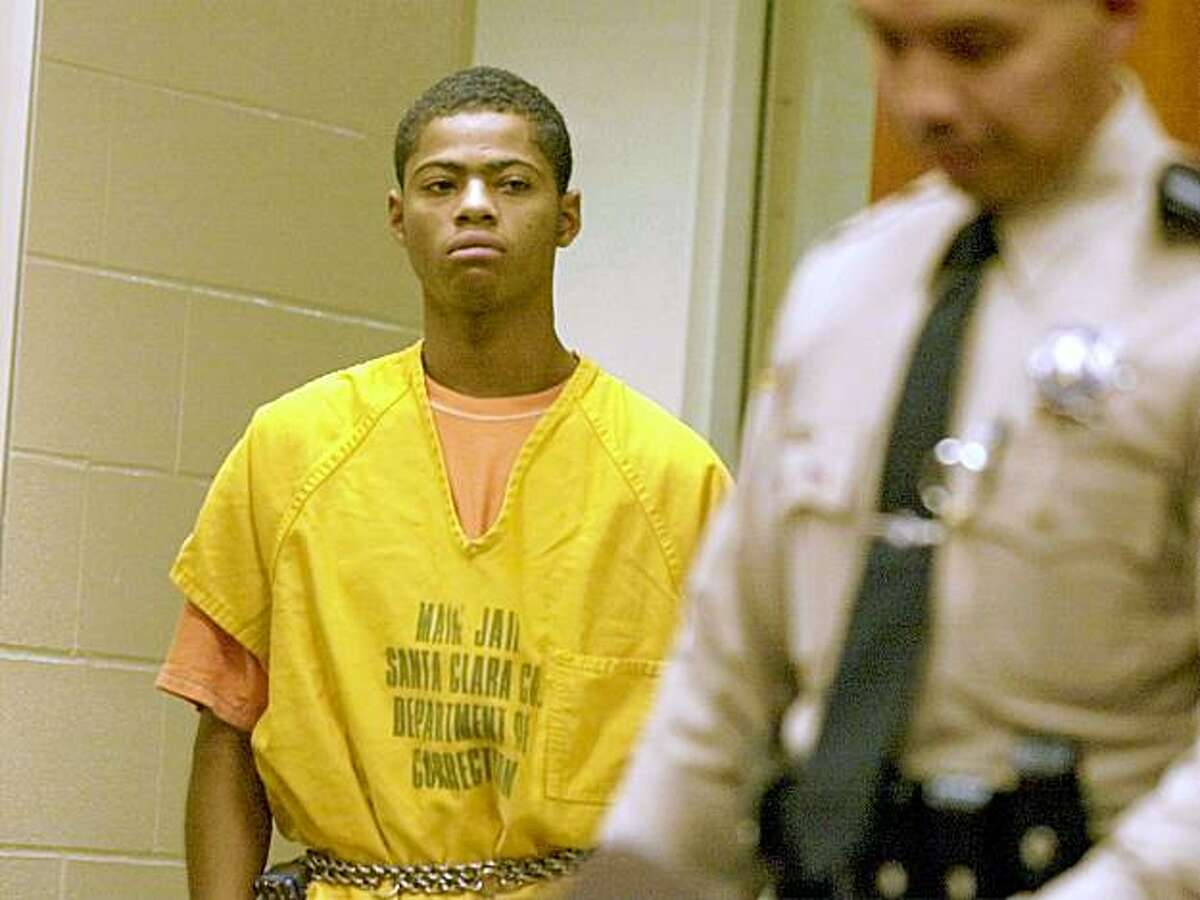 DeShawn Campbell 22 was lead into court for his arrangement in San Jose. File photo.