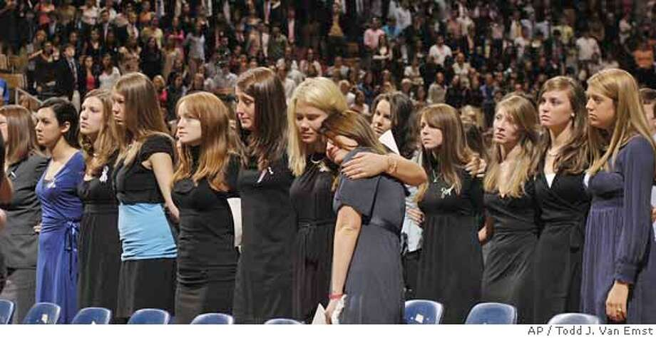 ###Live Caption:Auburn Delta Gamma sorority members listen during a memorial service for Lauren Burk on Monday, March 10, 2008 in Auburn, Ala. (AP Photo/Todd J. Van Emst)###Caption History:Auburn Delta Gamma sorority members listen during a memorial service for Lauren Burk on Monday, March 10, 2008 in Auburn, Ala. (AP Photo/Todd J. Van Emst)###Notes:###Special Instructions: Photo: Todd J. Van Emst