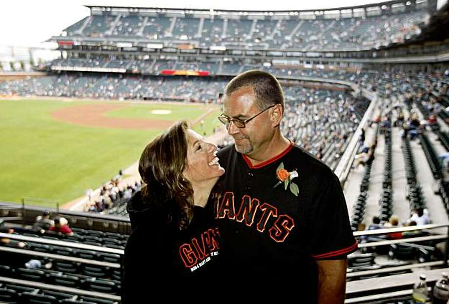 Marry Ann and Bob Spaletta from San Jose got married prior to the start of the Giants Philadelphia Phillies game Saturday night  August 1, 2009 Photo: Lance Iversen, The Chronicle