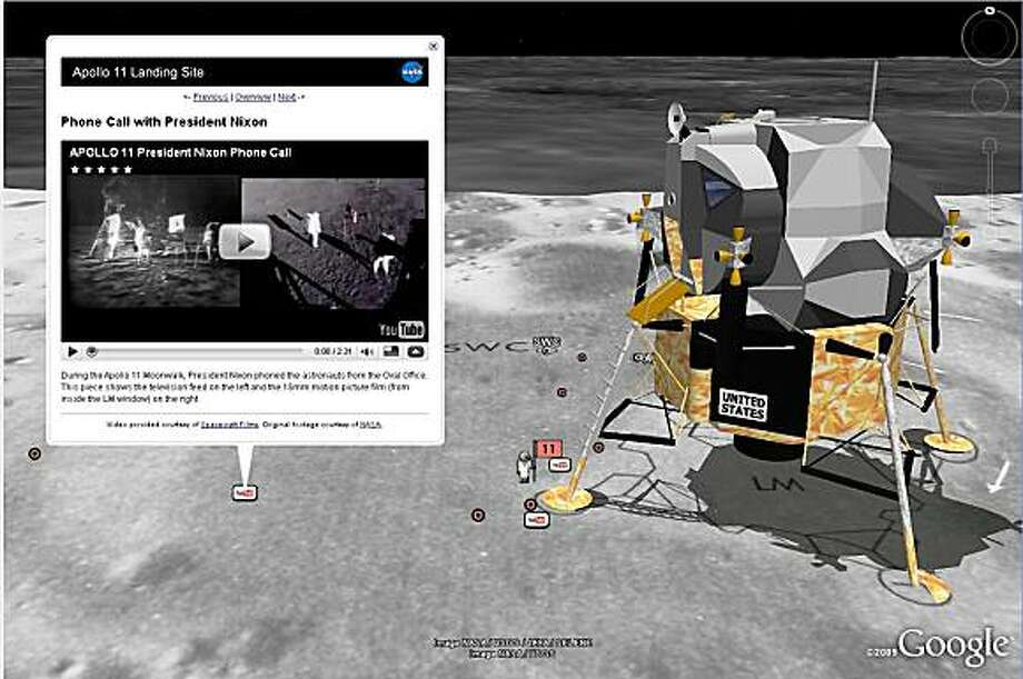 On July 20, 1969, the world watched as the crew of Apollo 11 took the first human steps on the surface of the Moon. To celebrate the 40th anniversary of this event, Google launched Moon in Google Earth, an interactive 3-D atlas of the moon with Google Earth 5.0. The interactive program lets users explore a virtual moonscape, including high resolution panoramic photos and video footage. Pictured in this screen grab is a 3-D model of the Apollo 11; to the left is a YouTube video that replays audio of the phone call from President Nixon to the astronauts. Photo: Courtesy Of Google Inc.