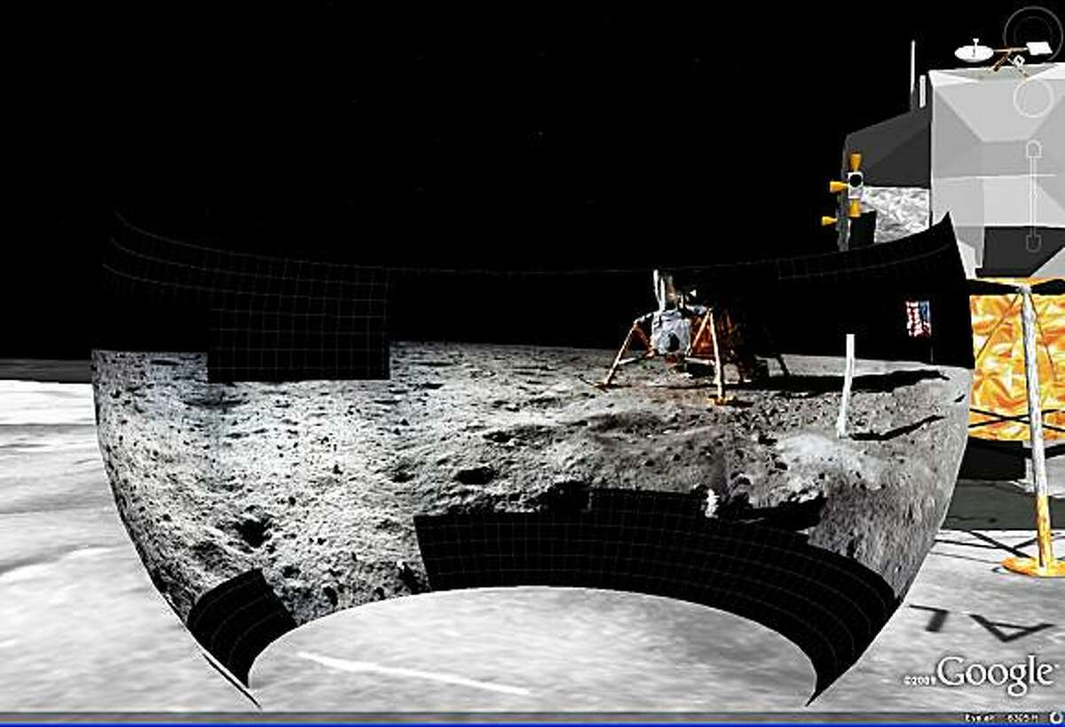 On July 20, 1969, the world watched as the crew of Apollo 11 took the first human steps on the surface of the Moon. To celebrate the 40th anniversary of this event, Google launched Moon in Google Earth, an interactive 3-D atlas of the moon with Google Earth 5.0. The interactive program lets users explore a virtual moonscape, including high resolution panoramic photos and video footage. Pictured in this screen grab is a high-resolution panoramic photo that users can