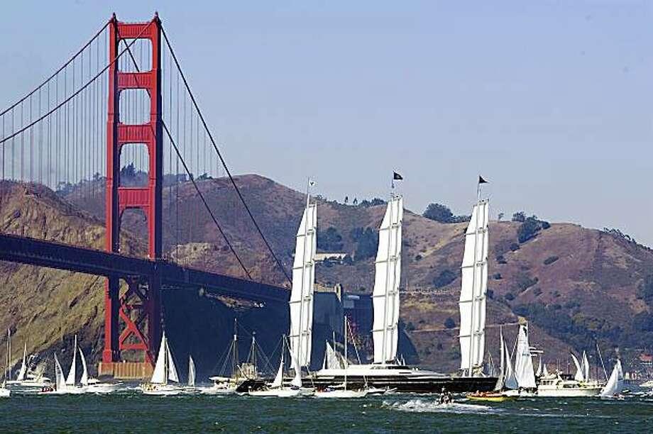 The Maltese Falcon sails under the Golden Gate Bridge in San Francisco , Calif., on Saturday, September 27, 2008. Photo: Kim White, The Chronicle
