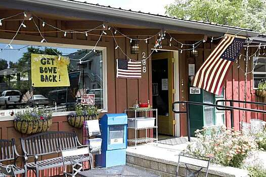 Pfc. Bowe R. Bergdahl worked as a barista at Zaney's River Street Coffee House in this central Idaho resort town just south of the Sawtooth Mountains in Hailey, Idaho on Sunday July 19, 2009, before he enlisted in the Army in 2008. Outside, an American flag hangs from the eaves; along with a sign in the window showing support for Bergdahl.   (AP Photo/David Seelig) Photo: David N Seelig, AP