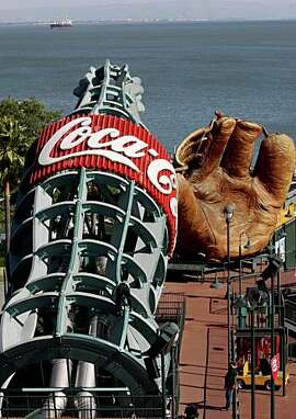 Coca-Cola bottle slide being checked at AT&T Park on Tuesday, March 25, 2008 in San Francisco, California as part of a complete restoration  before the season starts.      Photo by Liz Hafalia / San Francisco Chronicle