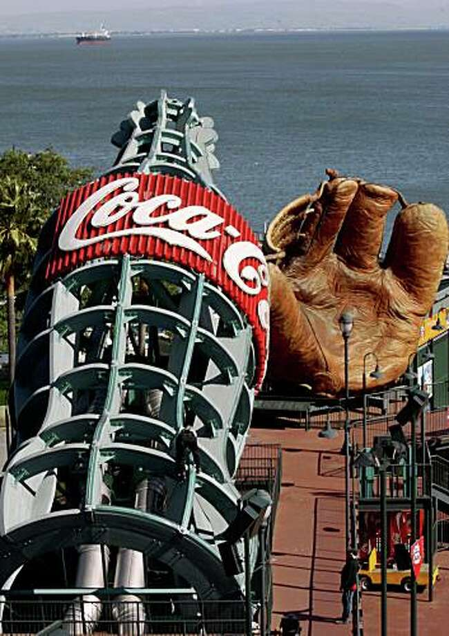 Coca-Cola bottle slide being checked at AT&T Park on Tuesday, March 25, 2008 in San Francisco, California as part of a complete restoration  before the season starts.      Photo by Liz Hafalia / San Francisco Chronicle Photo: Liz Hafalia, The Chronicle