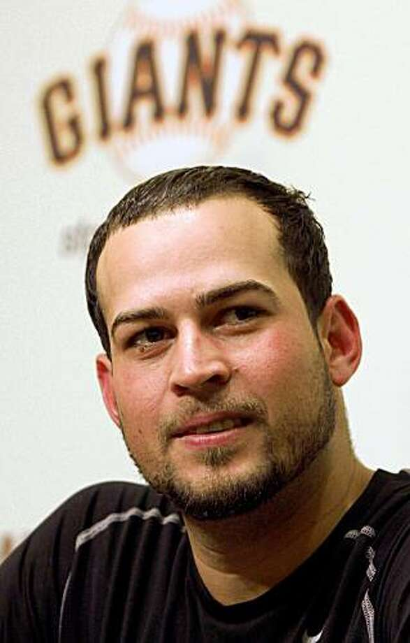 San Francisco Giants' Jonathan Sanchez appears at a press conference after  a baseball game after pitching a no hitter against the San Diego Padres Friday, July 10, 2009, in San Francisco. (AP Photo/George Nikitin) Photo: George Nikitin, AP