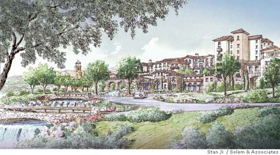 ###Live Caption:Artists' rendering of a new resort and casino planned for the site of the River Rock Casino in Geyserville.###Caption History:Artists' rendering of a new resort and casino planned for the site of the River Rock Casino in Geyserville. CR: Stan Ji / Solem & Associates  Ran on: 06-29-2007  The buildings and landscaping planned at the River Rock Casino near Geyserville would resemble a Tuscan village, tribal leaders say.  Ran on: 06-29-2007  The resort planned at the River Rock Casino near Geyserville would resemble a Tuscan village, tribal leaders say.  Ran on: 06-29-2007 Ran on: 06-29-2007###Notes:###Special Instructions: Photo: Stan Ji