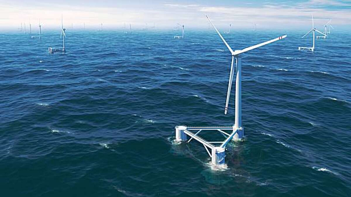 Artist's rendering of the WindFloat, a proposed windmill designed to float in deep ocean water.