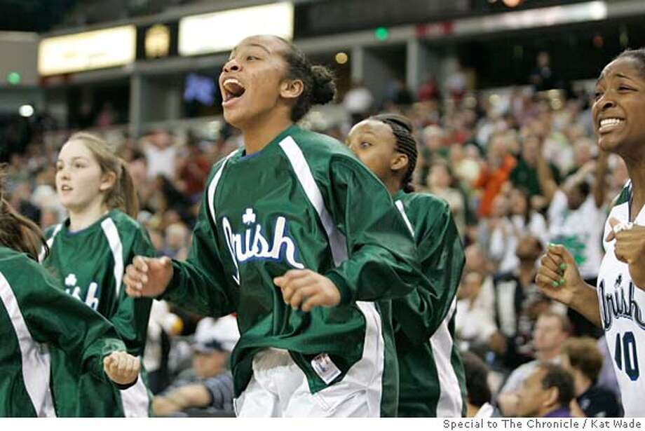 Sacred Heart Cathedral Fightin' Irish Tomisha Miller and Kamilah Jackson along with other teammates on the sideline jump for joy as Tierra Rogers scores the winning point the Girls Division III NorCal championship when Sacred Heart Cathedral Fightin' Irish had a one point win over St. Mary's Rams at the ARCO arena in Sacramento, Calif. on Saturday, Mar 8, 2008. Photo by Kat Wade / Special to the Chronicle Photo: Kat Wade