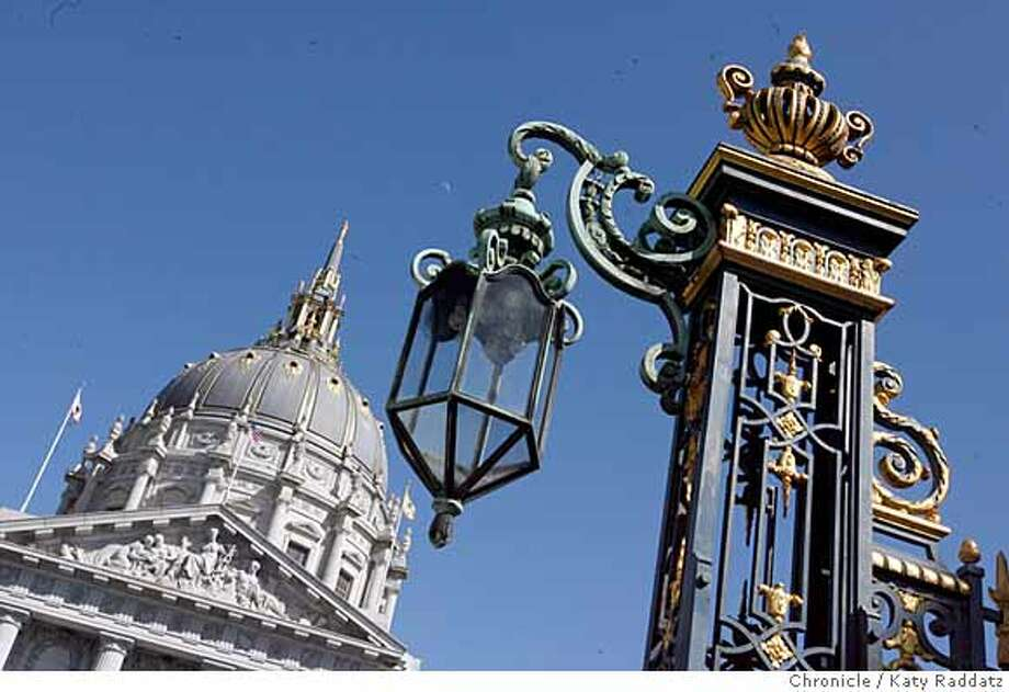 ###Live Caption:The southern gatepost of the opulent gate enclosing the area between the War Memorial Opera House and the Herbst Theater, with City Hall in the background, on Van Ness Ave. in San Francisco, Calif. on Thursday March 13, 2008.  Photo by Katy Raddatz / The San Francisco Chronicle###Caption History:The southern gatepost of the opulent gate enclosing the area between the War Memorial Opera House and the Herbst Theater, with City Hall in the background, on Van Ness Ave. in San Francisco, Calif. on Thursday March 13, 2008.  Photo by Katy Raddatz / The San Francisco Chronicle###Notes:###Special Instructions:MANDATORY CREDIT FOR PHOTOG AND SAN FRANCISCO CHRONICLE/NO SALES-MAGS OUT Photo: KATY RADDATZ