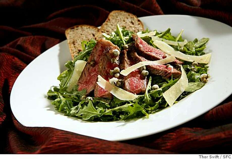Steak salad with arugula, parmesan and fried capers, photographed Thursday, March 13, 2008 at the San Francisco Chronicle studio.Thor Swift For The San Francisco Chronicle Photo: Thor Swift, SFC