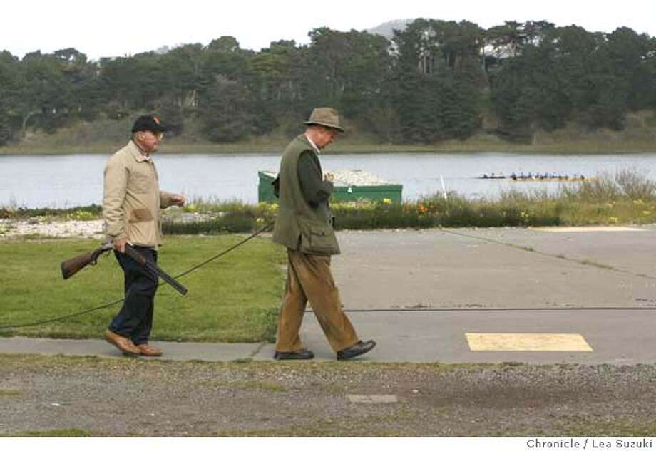 "###Live Caption:Bob Granucci (right) and Kevin Scarpelli (left), both of San Francisco, practice together working the stations at the Pacific Rod and Gun Club on Wednesday March 12, 2008 in San Francisco, Calif. The PUC task force is creating a ""master plan"" for the Lake Merced area and the Pacific Rod and Gun Club fears they will want to evict them. Photo by Lea Suzuki / San Francisco Chronicle###Caption History:Bob Granucci (right) and Kevin Scarpelli (left), both of San Francisco, practice together working the stations at the Pacific Rod and Gun Club on Wednesday March 12, 2008 in San Francisco, Calif. The PUC task force is creating a ""master plan"" for the Lake Merced area and the Pacific Rod and Gun Club fears they will want to evict them. Photo by Lea Suzuki / San Francisco Chronicle###Notes:###Special Instructions:�2007, San Francisco Chronicle  MANDATORY CREDIT FOR PHOTOG AND SAN FRANCISCO CHRONICLE/NO SALES-MAGS OUT Photo: Suzuki"
