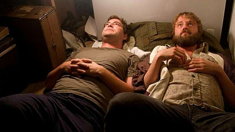 "In this image released by the Magnolia Pictures, Mark Duplass, left, and Joshua Leonard are shown in a scene from, ""Humpday."" Photo: Anonymous, AP"