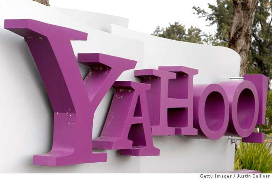 SUNNYVALE, CA - JANUARY 22: (FILE) The Yahoo logo is seen on a sign outside of the Yahoo Sunnyvale campus January 22, 2008 in Sunnyvale, California. According to reports on February 9, Yahoo is expected to reject Microsoft's takeover bid of $44.6 billion. (Photo by Justin Sullivan/Getty Images)  Ran on: 02-10-2008  After spurning Microsoft's merger offer, Yahoo will remain in its current form and headquarters.  Ran on: 02-10-2008  After spurning Microsoft's merger offer, Yahoo will remain in its current form and headquarters. Photo: Justin Sullivan