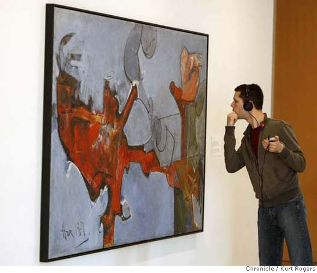 ###Live Caption:Heith Didier of Portland Oregon looks at Bird Lover a painting by Hassel Smith on display at the San Jose Art Museum on Saturday Mar 1,2008 Photo By Kurt Rogers / San Francisco Chronicle###Caption History:Heith Didier of Portland Oregon looks at Bird Lover a painting by Hassel Smith on display at the San Jose Art Museum on Saturday Mar 1,2008 Photo By Kurt Rogers / San Francisco Chronicle###Notes:Artist Hassel Smith died last year. Friends and family get together to celebrate his art. Heith Didier (cq)###Special Instructions:MANDATORY CREDIT FOR PHOTOG AND SAN FRANCISCO CHRONICLE/NO SALES-MAGS OUT