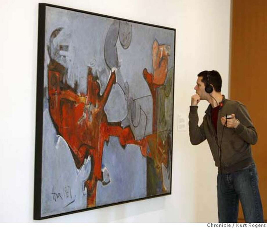 ###Live Caption:Heith Didier of Portland Oregon looks at Bird Lover a painting by Hassel Smith on display at the San Jose Art Museum on Saturday Mar 1,2008 Photo By Kurt Rogers / San Francisco Chronicle###Caption History:Heith Didier of Portland Oregon looks at Bird Lover a painting by Hassel Smith on display at the San Jose Art Museum on Saturday Mar 1,2008 Photo By Kurt Rogers / San Francisco Chronicle###Notes:Artist Hassel Smith died last year. Friends and family get together to celebrate his art.  Heith Didier (cq)###Special Instructions:MANDATORY CREDIT FOR PHOTOG AND SAN FRANCISCO CHRONICLE/NO SALES-MAGS OUT Photo: Kurt Rogers