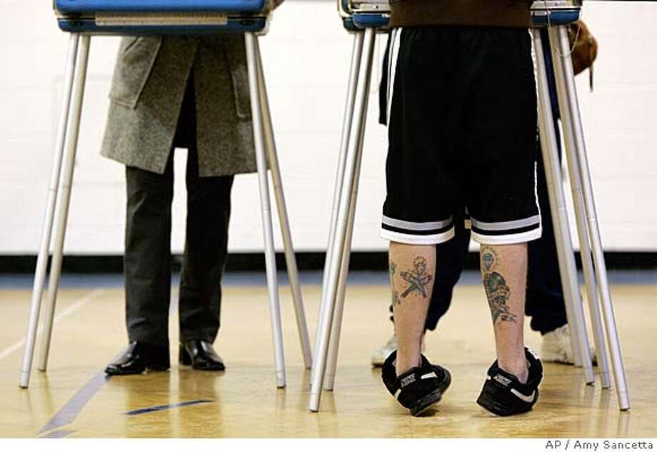 ###Live Caption:Voters cast their ballots in Ohio's primary election at a polling station in the former Coventry Elementary School in Cleveland Heights, Ohio on Tuesday, March 4, 2008. Officials expected heavy turnout at the polls in Ohio, Texas, Vermont and Rhode Island Tuesday. (AP Photo/Amy Sancetta)###Caption History:Voters cast their ballots in Ohio's primary election at a polling station in the former Coventry Elementary School in Cleveland Heights, Ohio on Tuesday, March 4, 2008. Officials expected heavy turnout at the polls in Ohio, Texas, Vermont and Rhode Island Tuesday. (AP Photo/Amy Sancetta)###Notes:###Special Instructions: Photo: Amy Sancetta