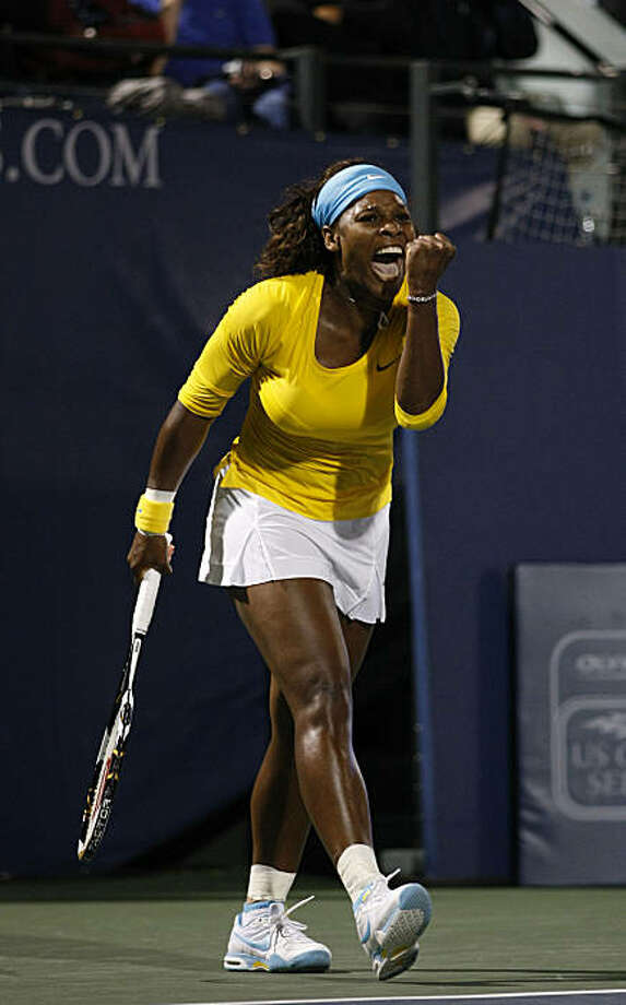 Serena Williams reacts after defeating Na Li of China, in two sets 6-3,  7-6  in the first round of the Bank of the West Classic, Tuesday July 28, 2009, in Stanford, Calif. Photo: Lacy Atkins, The Chronicle
