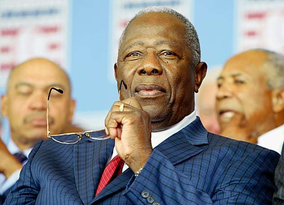 COOPERSTOWN, NY - JULY 26:  Baseball icon Hank Aaron looks on at Clark Sports Center during the 2009  Baseball Hall of Fame induction ceremony on July 26, 2009 in Cooperstown, New York.  (Photo by Jim McIsaac/Getty Images) Photo: Jim McIsaac, Getty Images