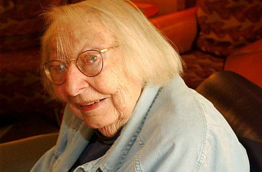 Jane Jacobs, 88 yr old author who has focused on cities.  on 5/17/04 in San Francisco, CA.  must credit photo by Penni Gladstone/  Ran on: 05-02-2006  Jane Jacobs, who died last week, dismissed suburbs as &quo;ghastly communities.&quo; Photo: Penni Gladstone, The Chronicle