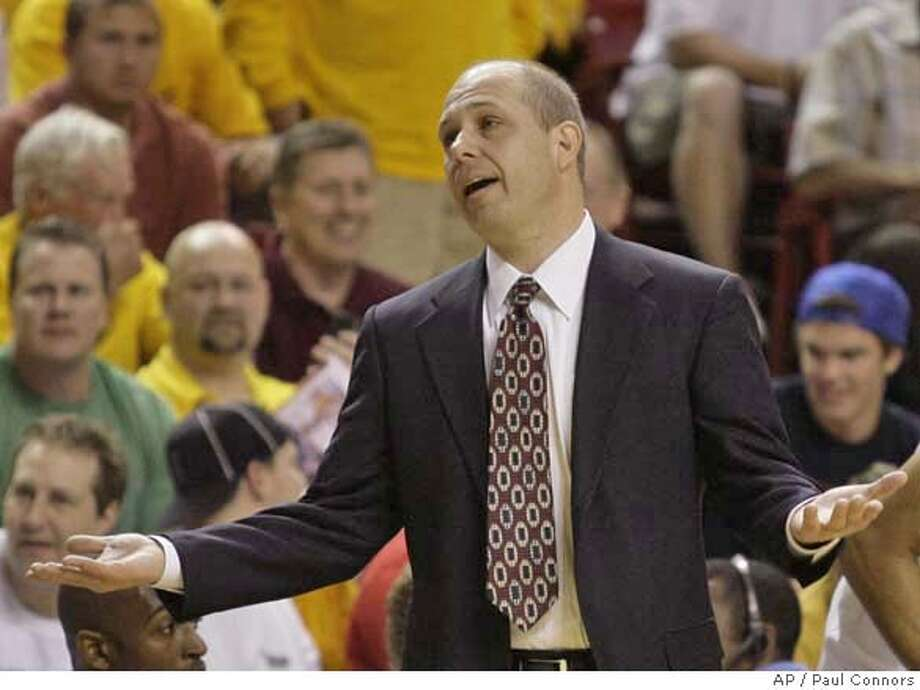 ###Live Caption:Arizona State coach Herb Sendek talks with a referee who called a travel against one of Sendek's players in the first half of an NCAA basketball game against UCLA on Thursday, Feb. 28, 2008, in Tempe, Ariz. (AP Photo/Paul Connors)###Caption History:Arizona State coach Herb Sendek talks with a referee who called a travel against one of Sendek's players in the first half of an NCAA basketball game against UCLA on Thursday, Feb. 28, 2008, in Tempe, Ariz. (AP Photo/Paul Connors)###Notes:Herb Sendek###Special Instructions:EFE OUT Photo: Paul Connors