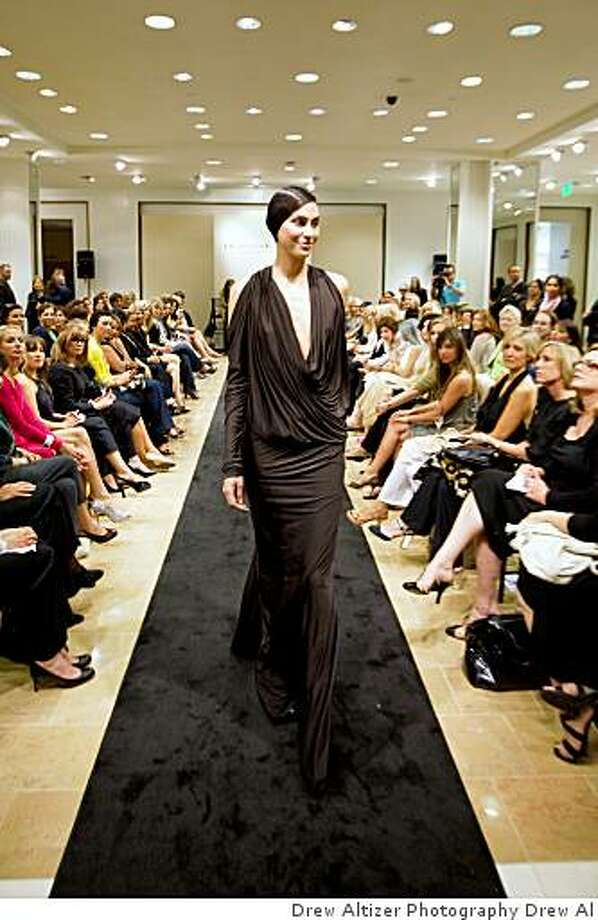 A jersey dress at a runway show of her fall 2009 collection at Neiman Marcus, June 10, 2009.  Runway Photo: Drew Altizer Photography Drew Al