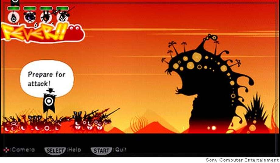 The Patapon warriors prepare to attack a monster in the new rhythm-based strategy game for the PlayStation Portable. Photo: Courtesy Sony Computer Entertain