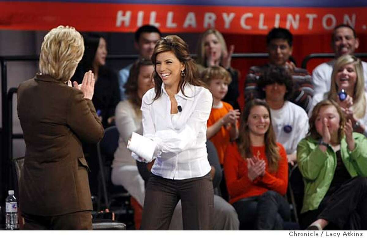 Democratic Presidential candidate Hillary Clinton thanks Eva Longoria-Parker introdues her at a Town Meeting, Monday March 3, 2008 in Austin, Texas. Photo by Lacy Atkins / San Francisco Chronicle