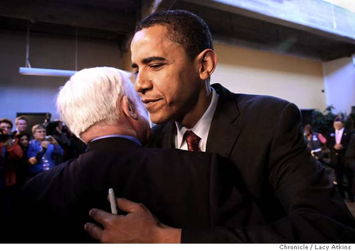 Democratic President candidate Barack Obama gives Richard Klass a hug after speaking to supporters, Monday March 3, 2008 in San Antonio, Texas. Photo by Lacy Atkins / San Francisco Chronicle