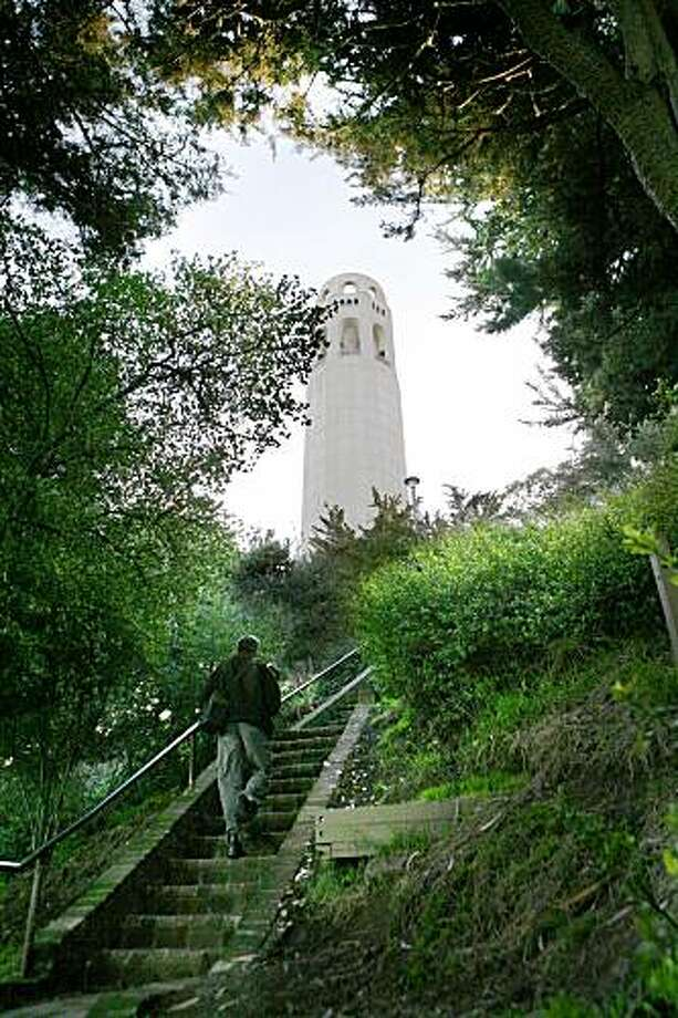 Ascending the steep Greenwich steps, one gets a view of the Coit Tower.  Photo by Michael Maloney / San Francisco Chronicle Photo: Michael Maloney, The Chronicle