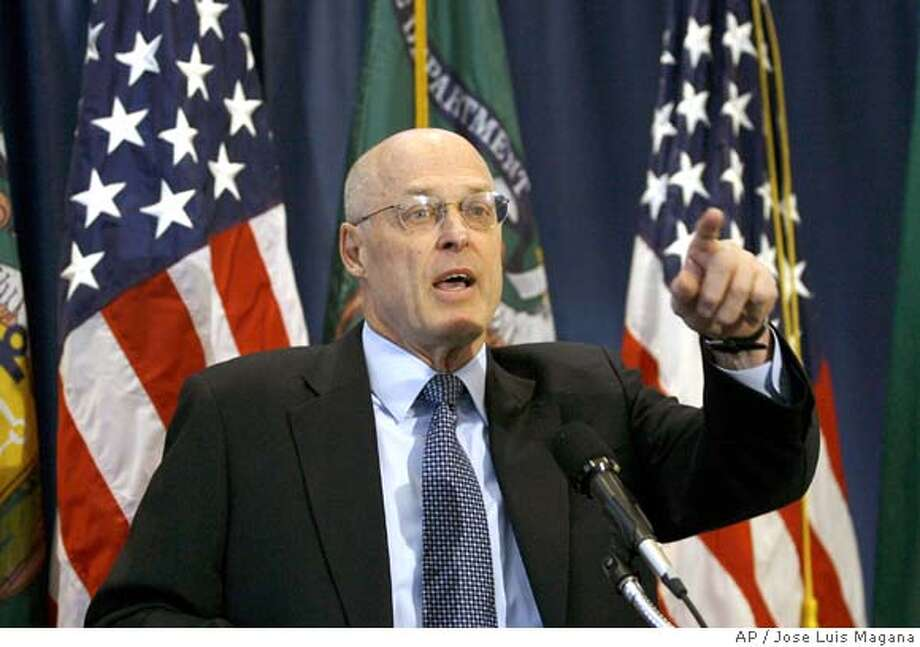 Treasury Secretary Henry Paulson gestures during a news conference at the National Press Club in Washington, Thursday March 13, 2008. (AP Photo/Jose Luis Magana) Photo: Jose Luis Magana